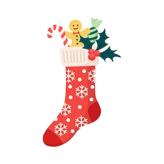 ジンジャーブレッドマン、お菓子、キャンディーと伝統的な休日の装飾品とクリスマスの靴下。プレゼント、サプライズとクリスマスパターンの子供服の要素。雪片の靴下