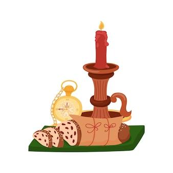크리스마스 stollen, 빨간 촛불 및 골동품 시계입니다. 크리스마스 기호입니다. 손으로 그린 벡터 일러스트 레이 션.