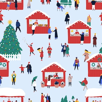 Рождественская уличная ярмарка плоский вектор бесшовный фон