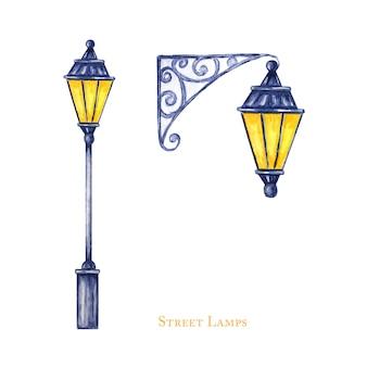 クリスマス街路灯セット。水彩イラスト。アンティークメタルの明るい光ランプ