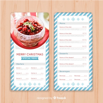 Christmas striped frame menu template