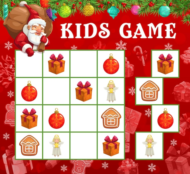 Christmas sudoku or maze game with vector santa and xmas gifts. kids education mind game, logic puzzle or riddle with santa claus cartoon character, christmas tree balls, gift boxes, angels and cookie