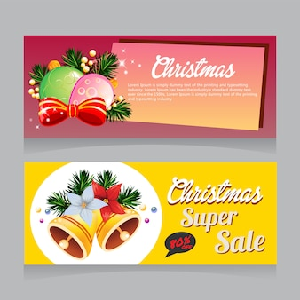 Christmas super sale banner with bell decoration