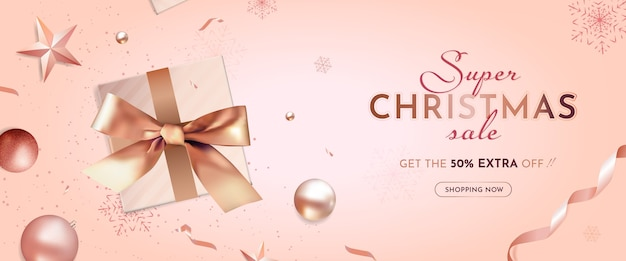 Christmas super sale banner with realistic christmas decoration