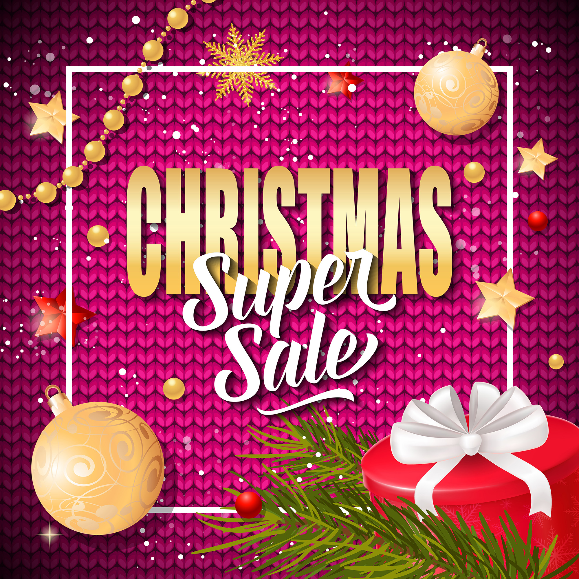 Christmas Super Sale Inscription in Frame