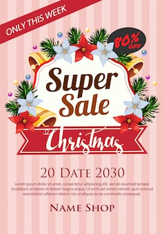 Christmas super sale poster bell decoration and poinsettia