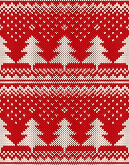 Christmas sweater design. seamless pattern with christmas trees