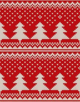 Рождественский дизайн свитера. бесшовный фон с елками