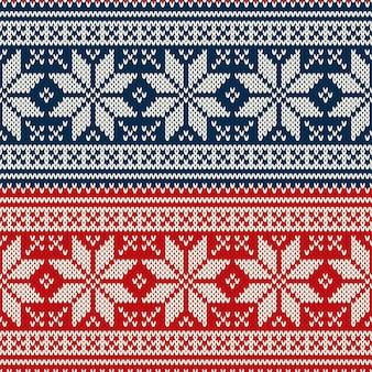 クリスマスセーターのデザインのシームレスなパターン Premiumベクター