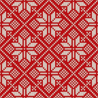 Christmas sweater design on the wool knitted texture. seamless pattern