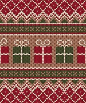 Рождественский свитер. бесшовные вязание. зимний праздник фон