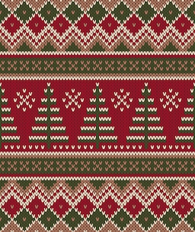Christmas sweater. seamless knitting pattern. winter holiday background