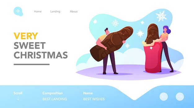Christmas sweet dessert landing page template. tiny characters unwrapping and eating huge chocolate santa xmas treat, winter holiday celebration, festive food. cartoon people vector illustration