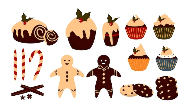 Christmas sweet food set. winter dessert. traditional treat pudding, cupcake or gingerbread man