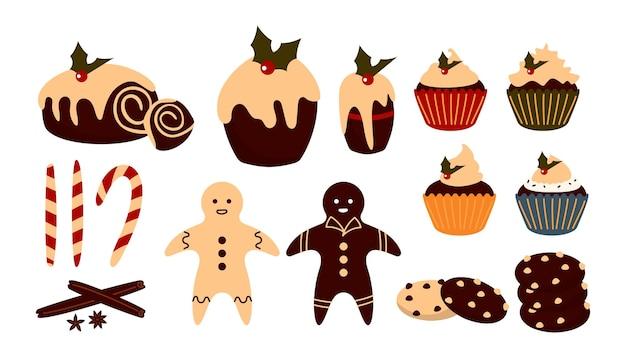 クリスマスの甘い食べ物セット。冬のデザート。伝統的なおやつプリン、カップケーキ、ジンジャーブレッドマン