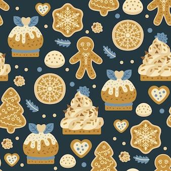 크리스마스 과자 빵집은 진저 쿠키와 함께 매끄러운 패턴입니다. 가을과 겨울 방학. 벽지, 인쇄, 포장, 종이, 섬유 디자인. 20개 중 하나
