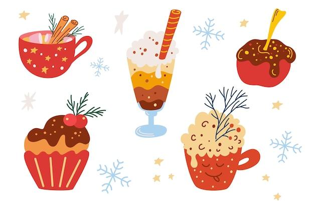 Коллекция рождественских сладостей. уютные кружки, какао со взбитыми сливками, кофе, традиционный рождественский торт. открытка на новый год или зимние праздники. векторные иллюстрации шаржа.