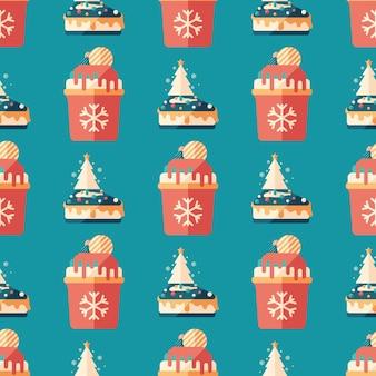クリスマスの菓子フラットアートのシームレスなパターン。
