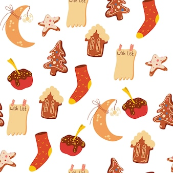 Christmas sweets seamless pattern. gingerbread, cookies, houses, apples, knitted socks. cozy winter holidays. winter background for fabric, textile, clothes, paper scrapbooking, planner. vector