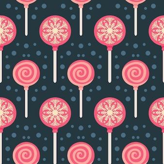 ロリポップとクリスマスのお菓子のシームレスなパターン。秋と冬の休日。壁紙、印刷、パッケージ、紙、テキスタイルデザイン。 20の1つ