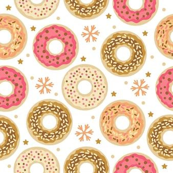 Рождественские сладости бесшовные модели с зимними пончиками. обои, печать, упаковка, бумага, текстильный дизайн. один из 20