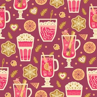 冬のホットドリンク、マシュマロ、ミルク、コーヒー、ホットワインとのクリスマスのお菓子のシームレスなパターン。秋と冬の休日。壁紙、印刷、パッケージ、紙、テキスタイルデザイン。 20の1つ