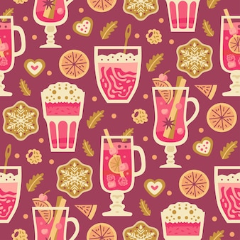 Christmas sweets seamless pattern with winter hot drinks, marshmallows, milk, coffee and mulled wine. autumn and winter holidays. wallpaper, print, packaging, paper, textile design. one of 20