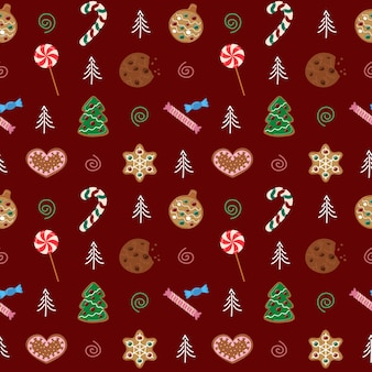 Christmas sweets vector pattern