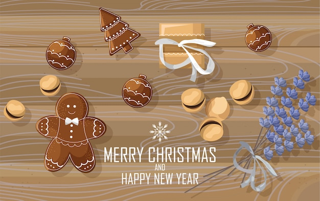 Christmas sweets with gingerbread cookies