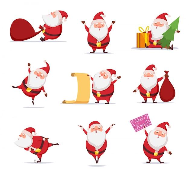 Christmas symbols of funny cute santa.