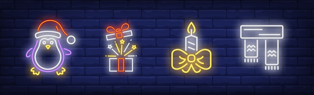 Christmas symbols in neon style collection