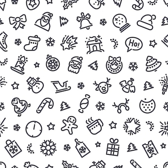 Christmas symbols seamless pattern