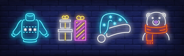 Christmas symbols symbols set in neon style