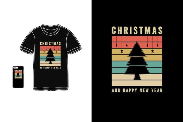 크리스마스 티셔츠 상품 모형 타이포그래피