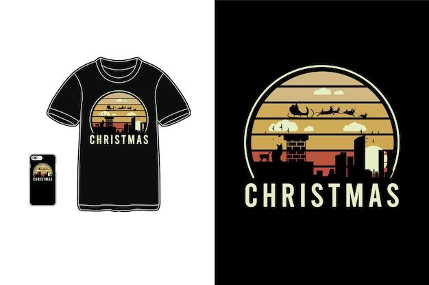 クリスマス、tシャツ商品シルエットタイポグラフィ