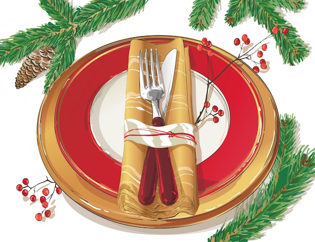 Christmas table decorating setting illustration