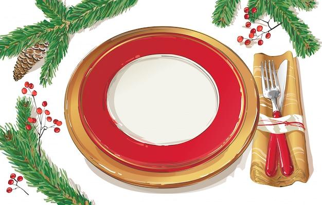 Christmas table decorating setting illustration