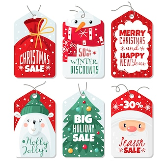 Christmas tag. decorative gift labels with santa and eve, polar bear and snowman, tags with lettering winter festive xmas offer, sale and discount sticker cards vector template set