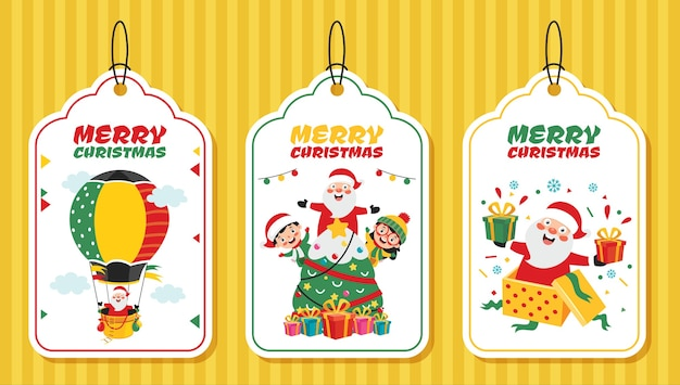 Christmas tag design with cartoon characters