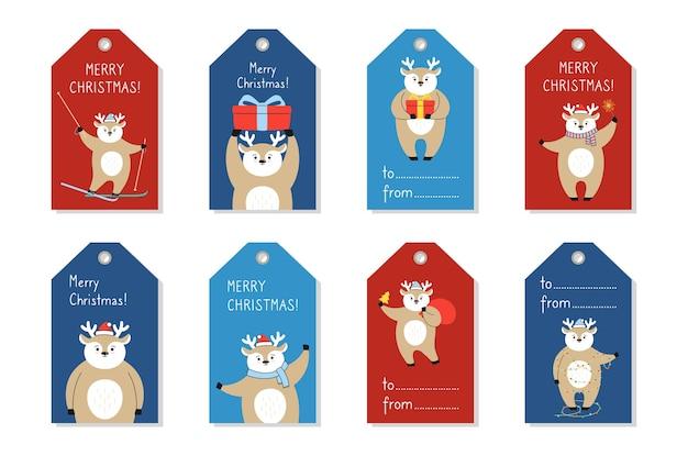 크리스마스 태그 템플릿, 사슴 만화 세트