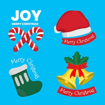 Christmas tag winter badge collection in flat design used for media template decoration greeting