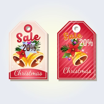 Christmas tag with bell decoration