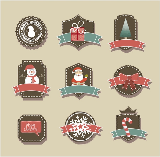 Christmas tags over beige background vintage style vector