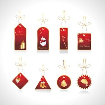 クリスマスの要素とクリスマスタグのベクトルセット