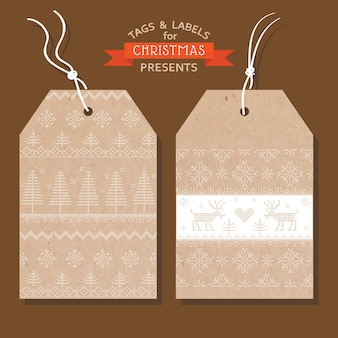Christmas tags or labels scandinavian style