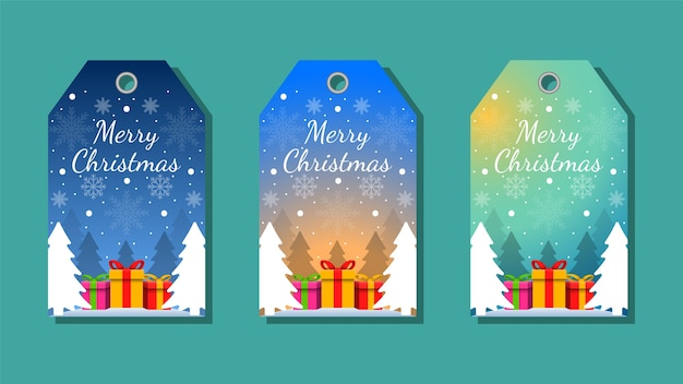 Christmas tags set greetings elements on colorful background. christmas background.