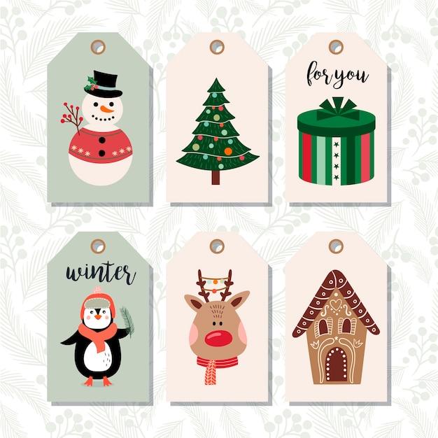 Набор рождественских тегов, зимний дизайн