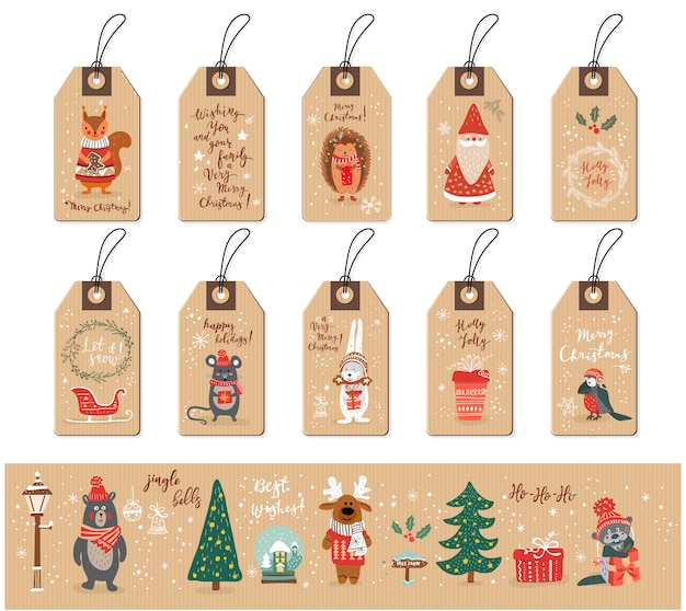 Рождественские теги с санта-клаусом, животными и элементами рождества, лисой, хетчогом, птицей, мышью, скворечником, рождественской елкой, снегом, снежинками, каракули рисованной иллюстрации стиля