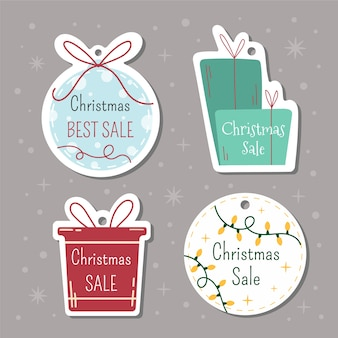 Christmas tags with lettering and hand drawn elements