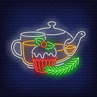 Рождественский чай в неоновом стиле